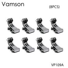 Acessórios para gopro vamson, 8 peças, j, suporte de fivela vertical adaptador para gopro hero 5 4 3 + sjcam para yi câmera vp109a