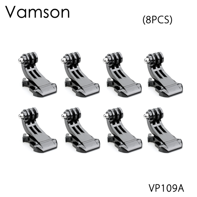 Vamson for Gopro Accessories 8pcs J Hook Mount Buckle Vertical Adapter For GoPro Hero 5 4 3+ for SJCAM for Yi Camera VP109A