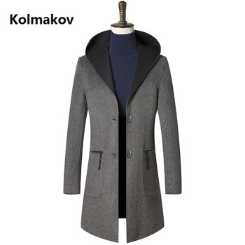 2018 new arrival winter Double side wool hooded trench coat men,men's Fashion classic business wool jackets,plus-size M-3XL