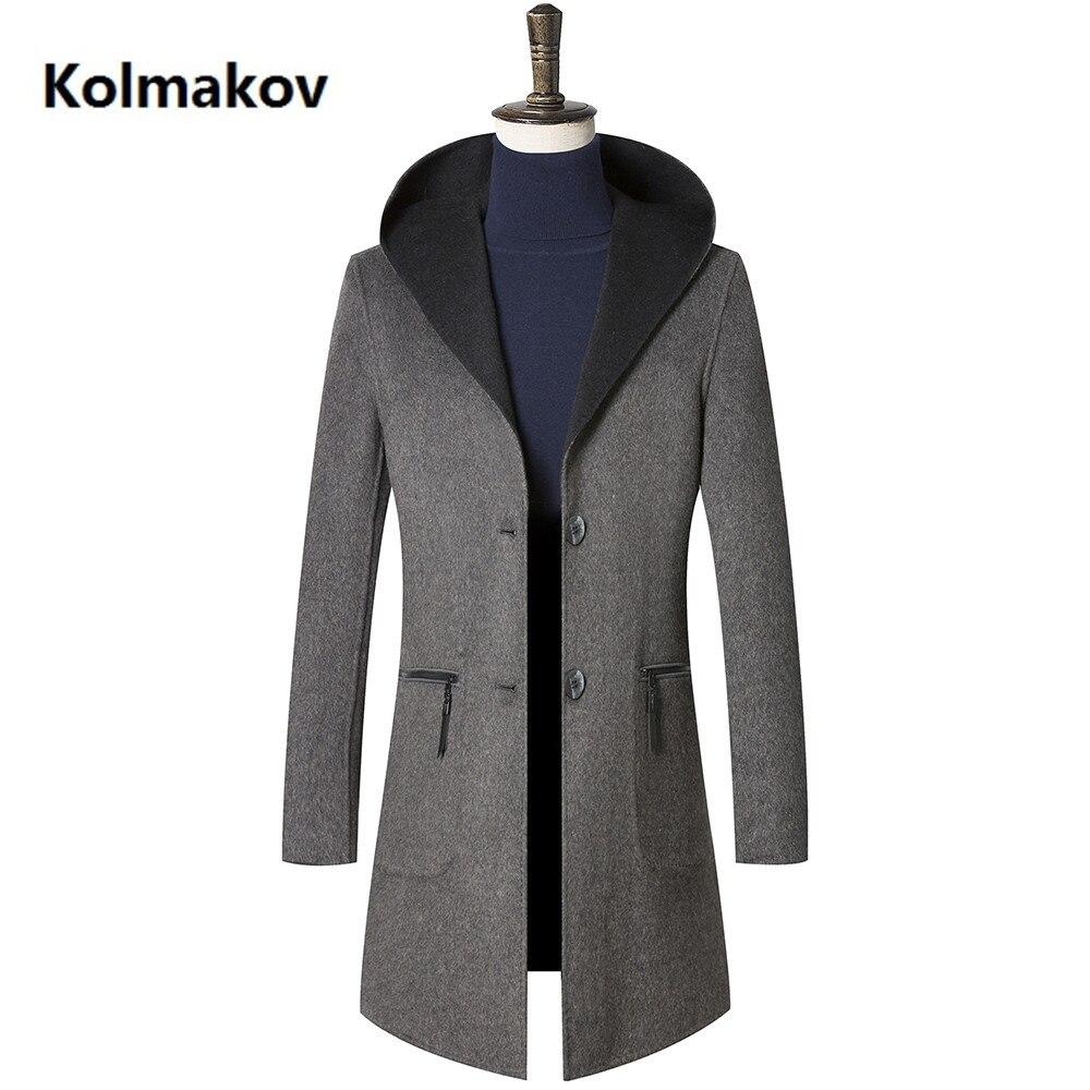 2018 nouveau arrivée d'hiver Double face laine à capuche tranchée manteau hommes, hommes de Mode classique d'affaires laine vestes, plus-taille M-3XL