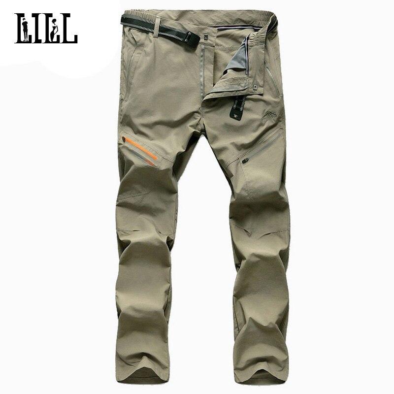 Men s Thin Quick Dry Pants Men Summer Waterproof Breathable Trousers Khaki 4XL Loose Male Cargo