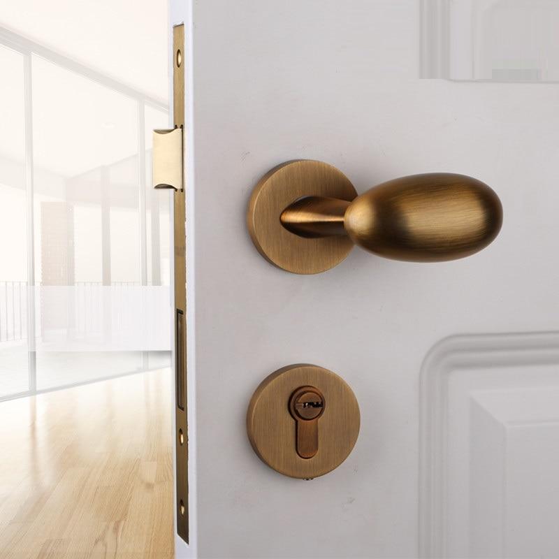 American Style Mute Room Knobs Door Lock Handle Bedroom Duck Egg Shaped Wooden Interior Door Handle 35-50 mm Doors Without Key