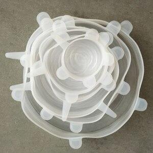 Image 5 - Многоразовые силиконовые эластичные крышки, 6 шт., универсальная крышка, силиконовая пищевая упаковка, чаша, крышка кастрюли, сковороды, кухонные пробки