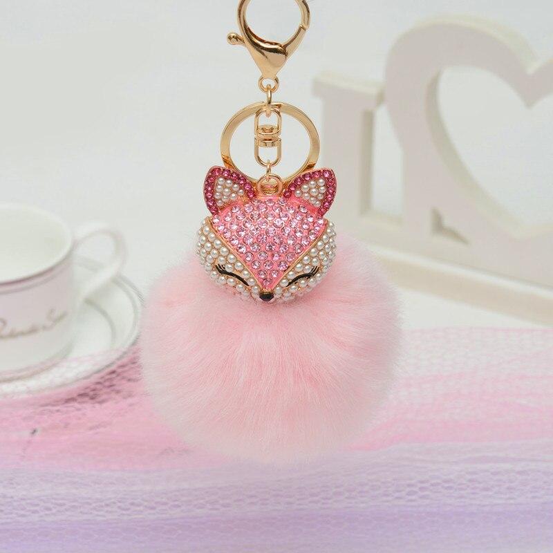 Charms Crystal Faux  Fox Plush Toy Animal Keychain Heart-shaped Unicorn Fox Key Pendant Suffed Animal Toy Licorne 2