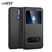 Huawei Mate 10 Lite Case Maimang 6 Smart Window Flip Pure Genuine Leather Phone Case For