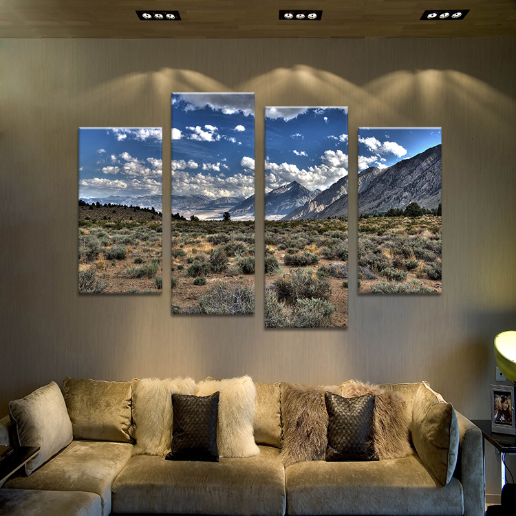 4pcs HD mountain with Cloud Wall painting print on canvas for home decor ideas paints on wall pictures No framed