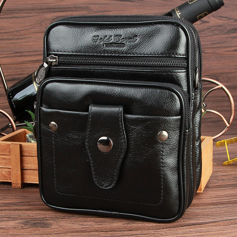 Gold coral hot new style male waist pack genuine leather handbag man bag shoulder bag small messenger bags for men cowhide hot sale 100% cowhide men s waist bag casual outdoor sports pack genuine leather travel man small money belt messenger men bags