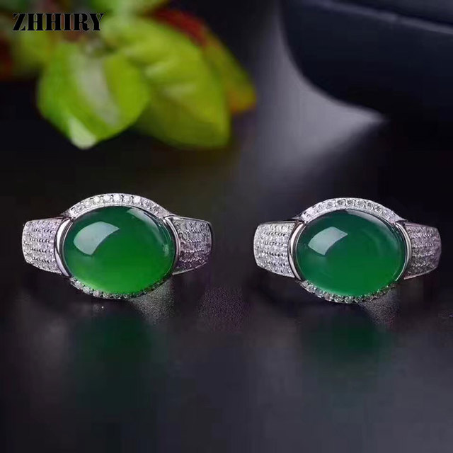 ZHHIRY Real Natural Green Chalcedony Ring Genuine Solid 925 Sterling Silver For Woman Big Jade Gemstone Rings Fine Jewelry