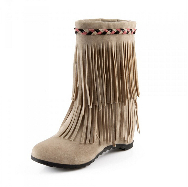 8d496356a547 Fashion women s shoes Real Cow Leather Moccasin Fringe Tassel Ankle Boots  women shoes Moccasin Boots wedge shoes