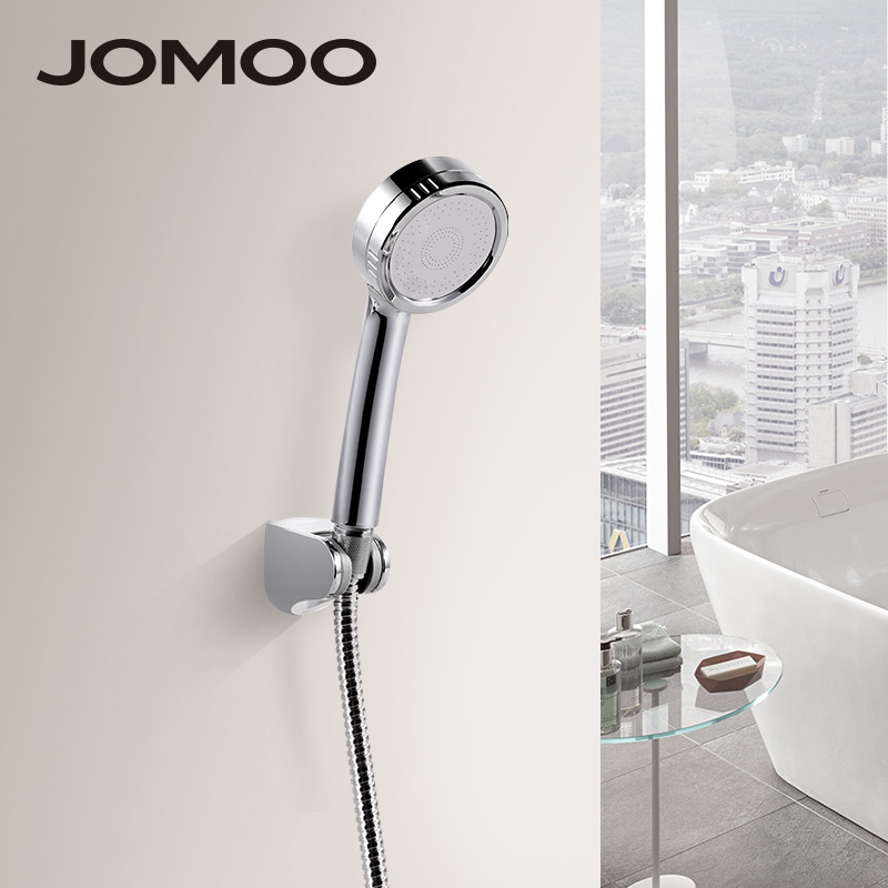 JOMOO ABS Chrome Finish Bathroom Shower Set High Pressure Shower Head With Stainless Steel Shower Hose And Wall Bracket jomoo 4 inch 3 jet bathroom shower head chrome hand shower with wall bracket stainless steel hose ducha chuveiro water saving