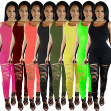 2016  Jumpsuit   Sexy Summer  Overalls Sleeveless Hole Solid Rompers Womens Jumpsuits Bodycon Elegant Bodysuit combinaison femme