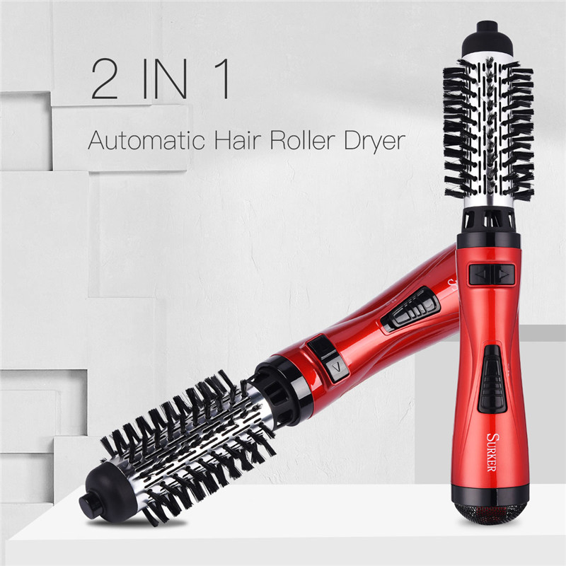 SURKER Electric Hair Dryer Brush Automatic Rotating Hair Curler Roller Curling Iron Hair Dryer Comb Salon Styling Tools Dry Wet gw new arrival 2 in 1 hair curler electric comb hairbrush curling hair straightener brush straightening iron roller styling tool