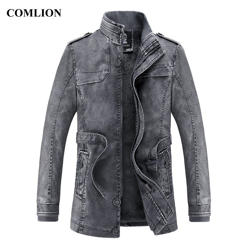 Men Long Leather Jacket 2018 New Fashion Style Stand Waist Belt Washed PU Leather Coats Trench Male Motorcycle Windbreaker D12