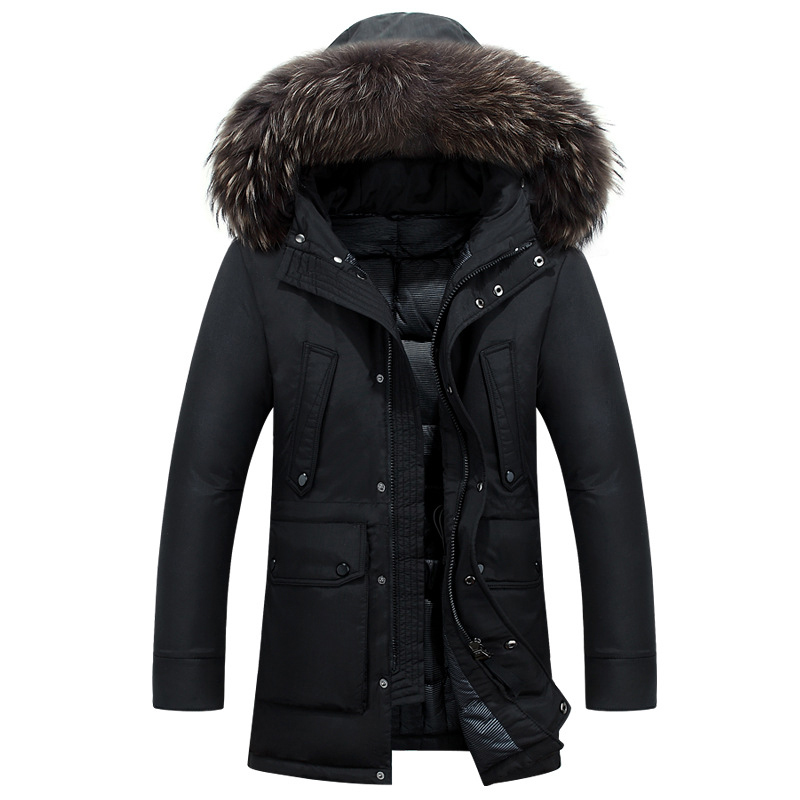 Nouvelle Parka d'hiver longue épaisse vers le bas manteau réel grande fourrure de raton laveur Parka hommes