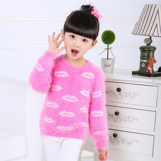Knitted Winter Sweater For Girls Free Knitting Patterns Pullover Children  Pull Fille Peppa Pig Kids Cardigan