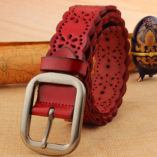 2016 Designers Luxury Hollow Female Strap Brand Genuine Leather Vintage Dress Belts for Women High Quality for Jeans Pants Red
