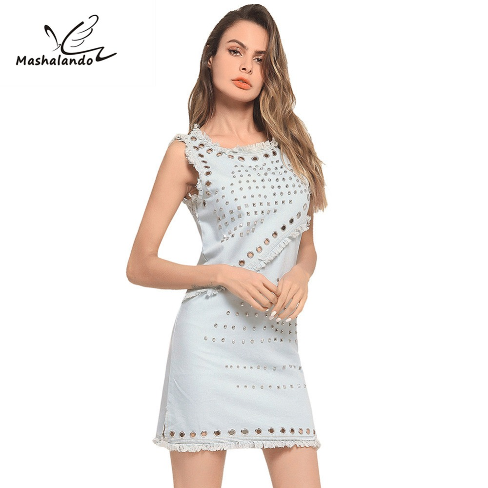 De Manches Femmes Blue Denim D'été Gilet 2018 Hip Sac Robe Gland Modèles Short Explosion Sans eroCBdx