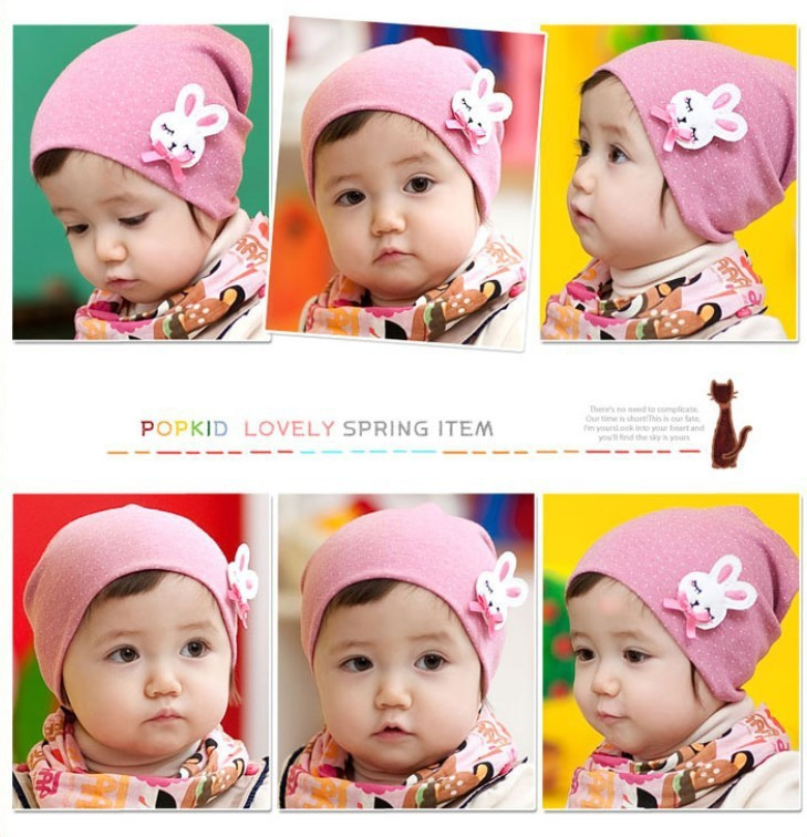 South Korean baby girl and boy spring automn piles of small children cotton  hat rabbit labeling set of head cap baby hat 5e926be9da9