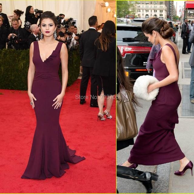 Selena Gomez Red Carpet Celebrity Dresses Mermaid Prom Dress V Neck Backless Court Train Custom Made W1228