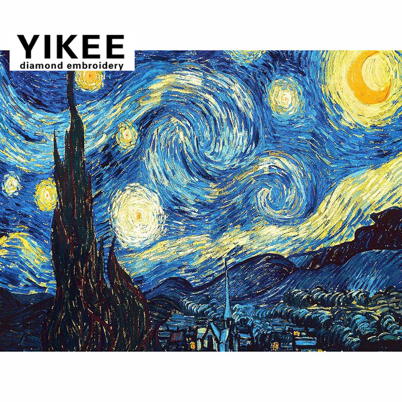 H266 Van Gogh Starry Night ,diy diamond embroidery,cartoon,5d,diamond painting night star sky ...