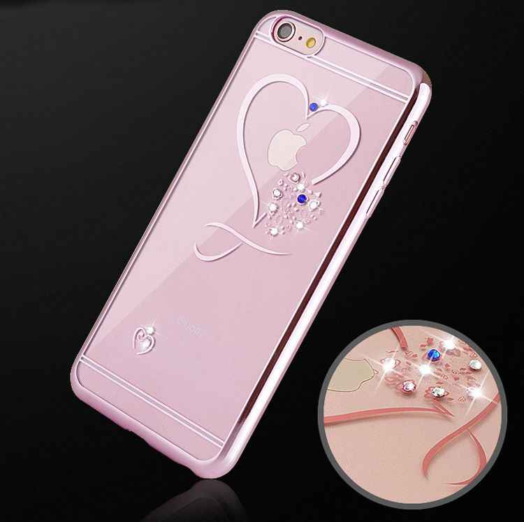 Ultra Dunne Plating Siliconen Telefoon Case Voor Iphone 11 Pro Xr Xs Max X 7 8 6 6S Plus 5 Se 5 S Love Heart Diamond Soft Cover