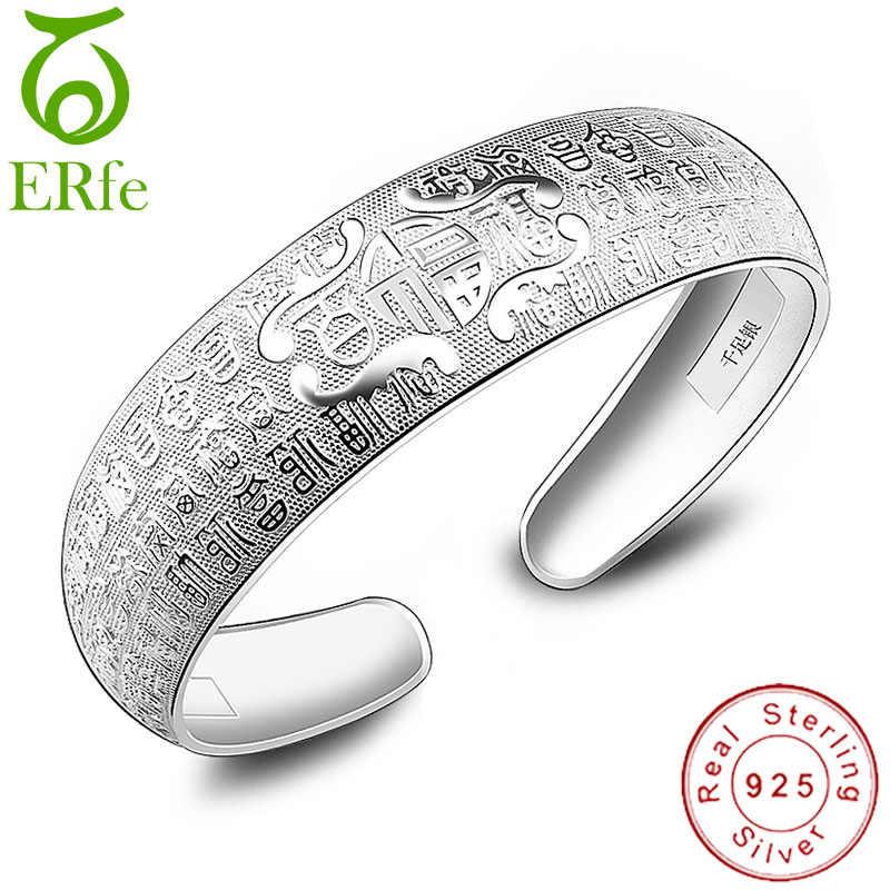 محظوظ العرقية أصيلة الفضة 925 سوار الإناث واسعة مفتوحة الإسورة Braslet امرأة شارة صفعة معصمه مجوهرات SB033