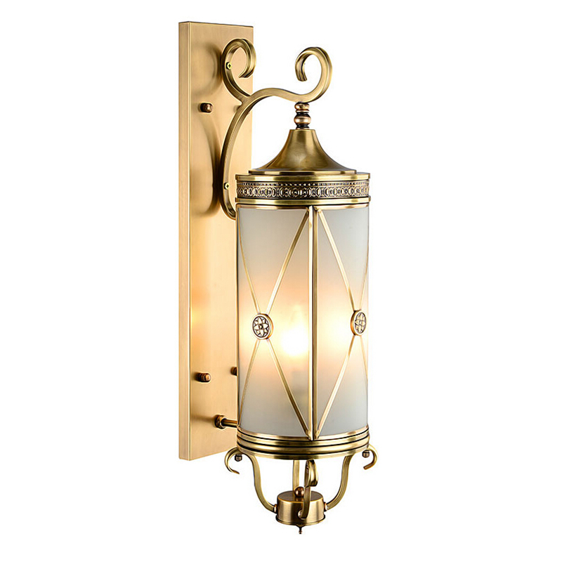 American Style Wall Lamp copper Outdoor Nostalgic Vintage Light Brass Glass Wall Sconce 100% Guaranteed garden courtyard court