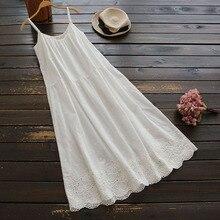 Летнее милое платье «Мори» для девушек, женское японское однотонное платье с цветочной вышивкой без рукавов на тонких бретелях, хлопковое женское платье Kawaii U725