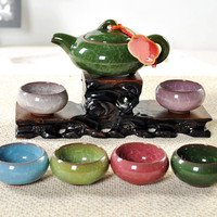 Hot Sale Kung Fu Tea Sets 1pcs Chinese Porcelain Teapot + 6pcs Teacup Home Office Purple Sand Drinkware Tea Sets Tea Service