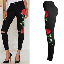 Women 2018 Floral Embroidery Denim Pencil Pants High Waist Jeans Casual Black Elastic Woman Ripped