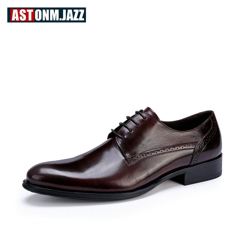 US $72.41 49% OFF Branded Schoenen mannen Casual Volnerf Leder Oxfords Schoenen Puntschoen Business Brogues Schoenen Heren Lederen Trouwjurk Schoenen