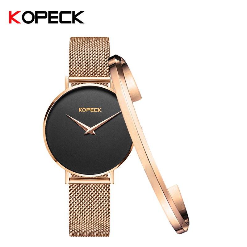 KOPECK Luxury Stainless Steel Watches Women Fashion Dress Watch Ladies Milan Mesh Band Quartz Wrist Watch Famale Clock Relogio