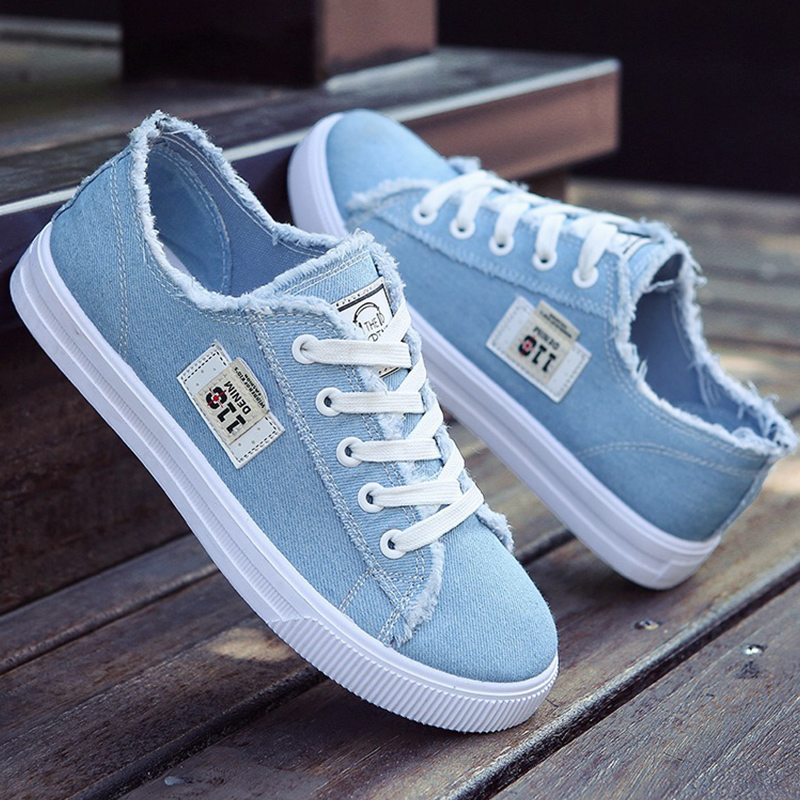 Women Flats Classic Spring/autumn Fashion Denim Women's Shoes Round Toe Canvas Shoes Designer Sneakers Zapatillas Mujer(China)