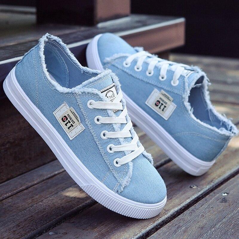 נשים דירות קלאסי אביב/סתיו אופנה ג 'ינס נעלי נשים בוהן עגול נעלי בד מעצב סניקרס zapatillas mujer