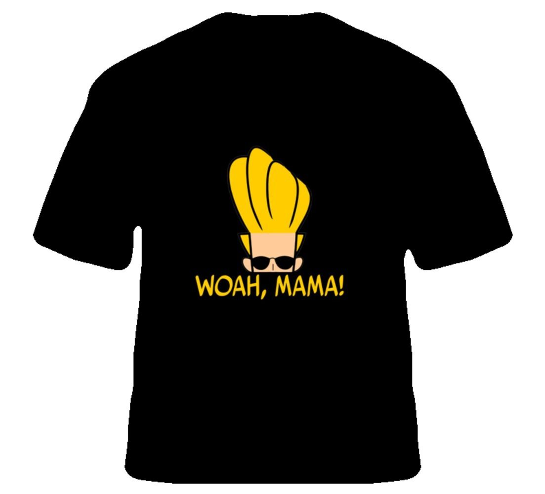 Woah, Mama! Funny Johnny Bravo 90s TV Show T Shirt 2018 Short Sleeve Cotton T Shirts Man Clothing T-Shirt O-Neck Men image