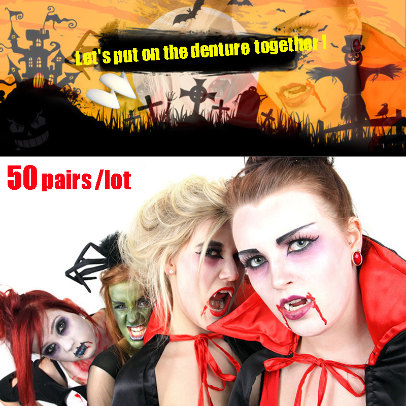 50pairs lot Halloween Party Costume Prop Decoration Vampire Dentures Fangs Tooth Horror False Teeth Size 13