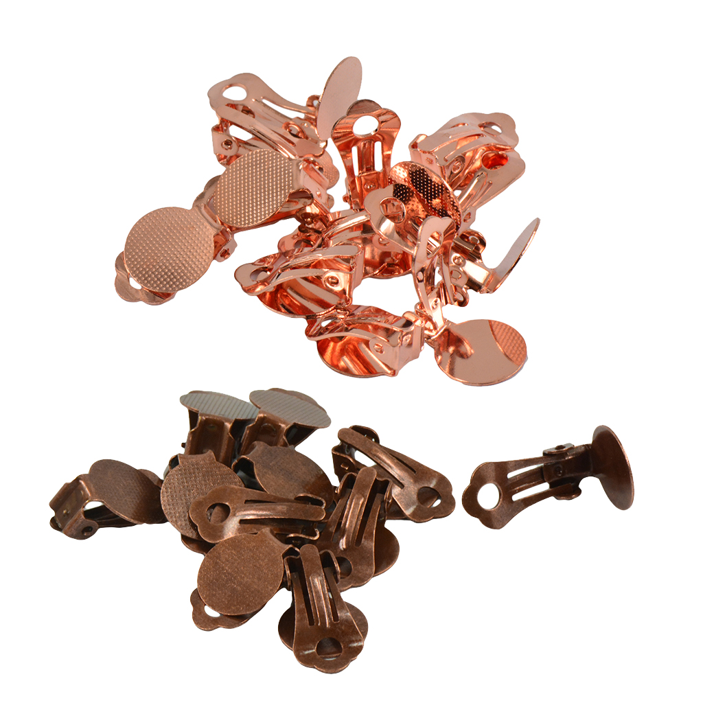 24 Pieces Flat Round Tray Brass Clip-on Earring Findings Earring Setting Components with 12 mm Cabochon Setting