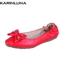 8598798c Karinluna nuevo diseño al por mayor dulce BowTie marca primavera Zapatos  mujeres pisos cómodo suave casual rojo remolino Zapatos.