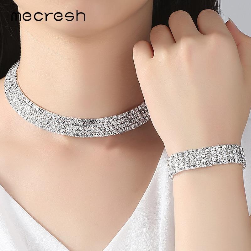 Mecresh Crystal Bridal Jewelry Sets Silver Color Rhinestone Necklace - Märkessmycken - Foto 2