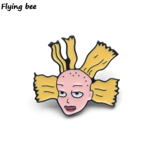 Flyingbee Cynthia Funny Enamel Pin Cartoon Brooch Clothes Pins Badges for Denim Blouse Charm Tie Pins Jewelry Accessories X0153