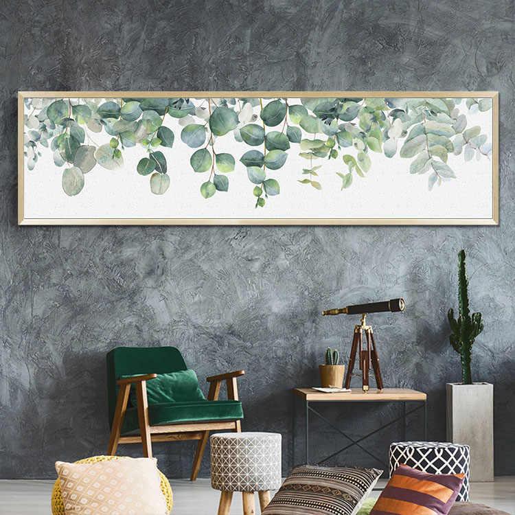 الشمال الحديثة النباتية الأخضر يترك طباعة المشارك قماش المطبوعات قماش كتاني للحائط الفن يطبع جدار الصور ل غرفة المعيشة لا الإطار