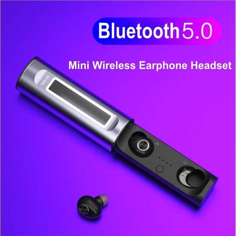TWS Mini sans fil Bluetooth 5.0 écouteurs dans l'oreille stéréo écouteurs avec boîte de charge @ JH