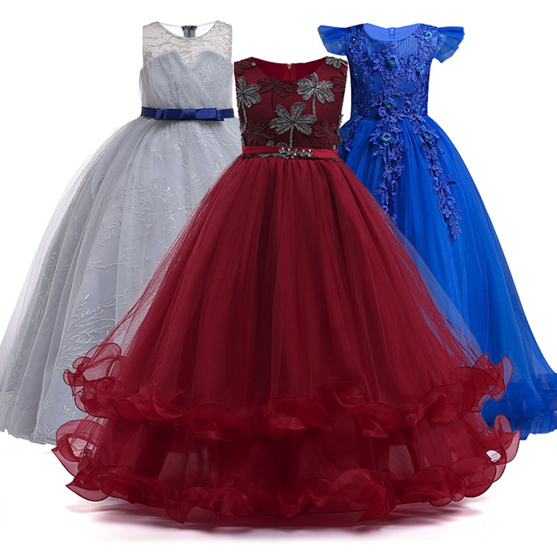 4-14 Y Lace Teenagers Child Girl Wedding Dress Princess Elegant Party Sleeveless Girl Dress For Summer It's Beautiful And Noble.