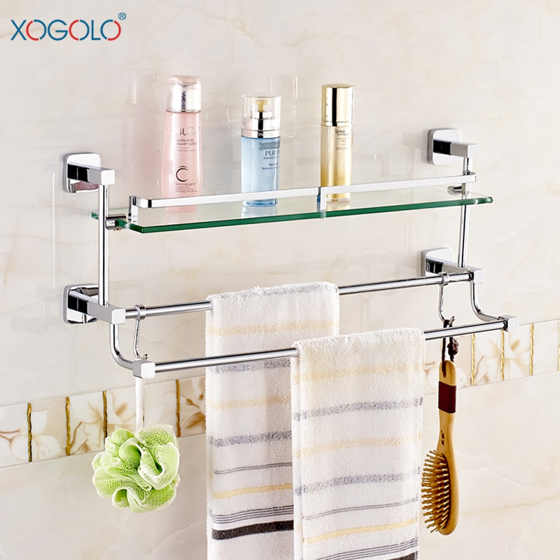 Xogolo fashion glass shelf with bars wholesale and retail - Bathroom accessories glass shelf ...