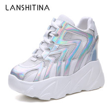 Women High Platform Shoes 2019 Summer Breathable Mesh Shoes Women Height Increasing Pumps 10 CM Thick Sole Trainers White Shoes стоимость