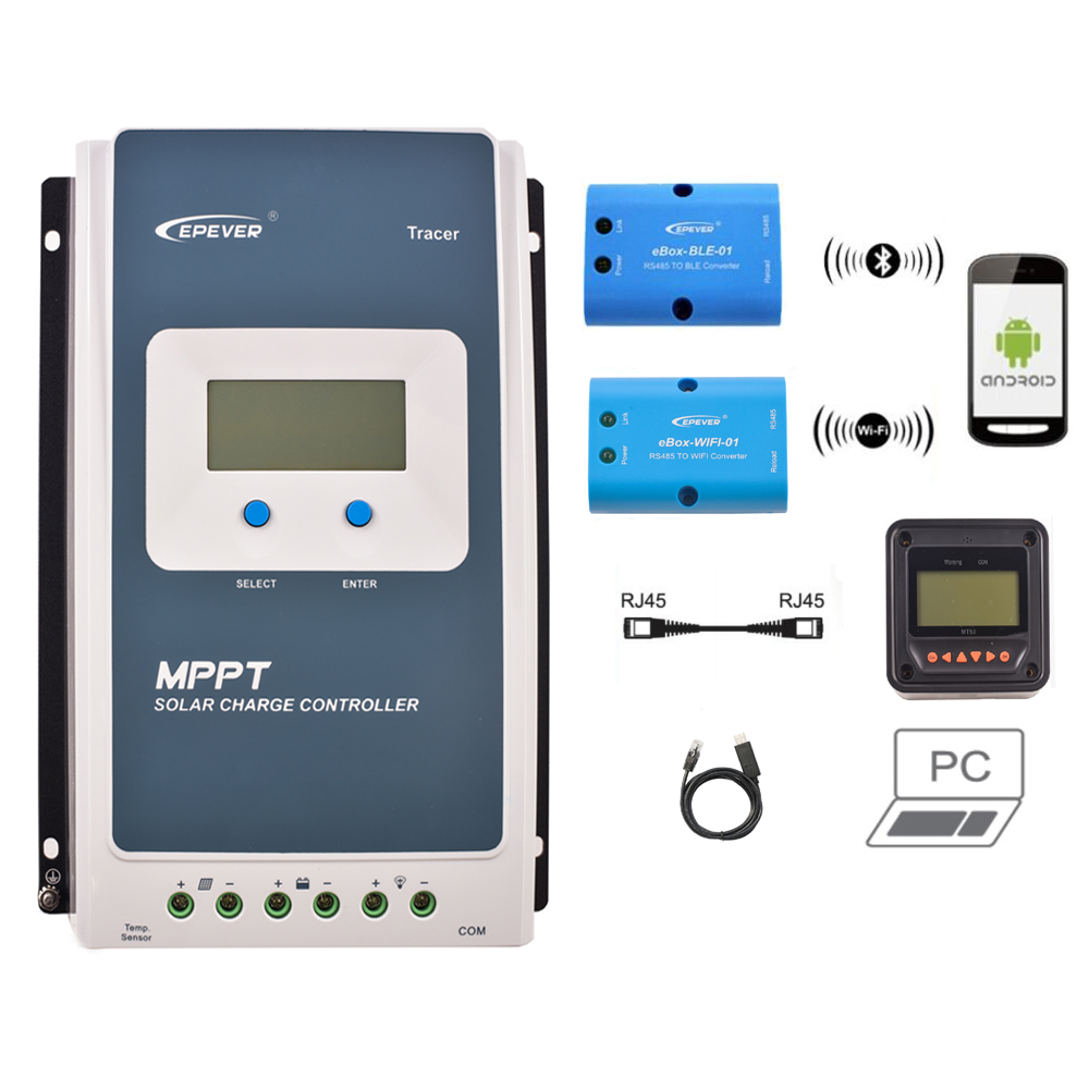 Heimwerker Photovoltaik-zubehör Epever 10a 20a 30a 40a Mppt Solar Panel Charge Controller Regulator Mt50 Wifi La