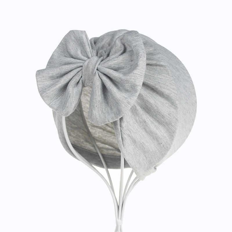 Moda niñas niños bebé niño Bowknot Color sólido elástico turbante Casual sombrero pelo cabeza envoltura tapa