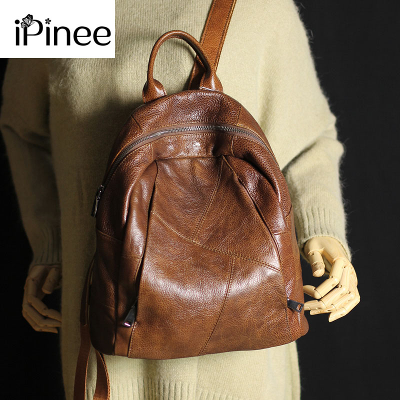 IPinee Large Capacity Women's Genuine Leather Backpacks Female School Bag Laptop Backpack Wholesale