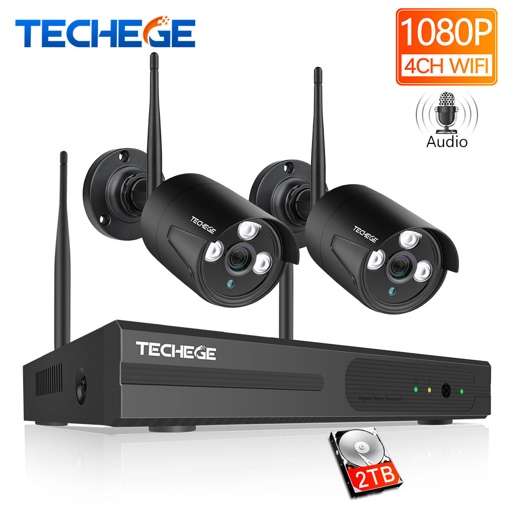 Techege 4CH Wi-Fi система видеонаблюдения Беспроводной NVR комплект 2 шт. 1080 P HD ip-камера 2MP наружная водостойкая домашняя система видеонаблюдения