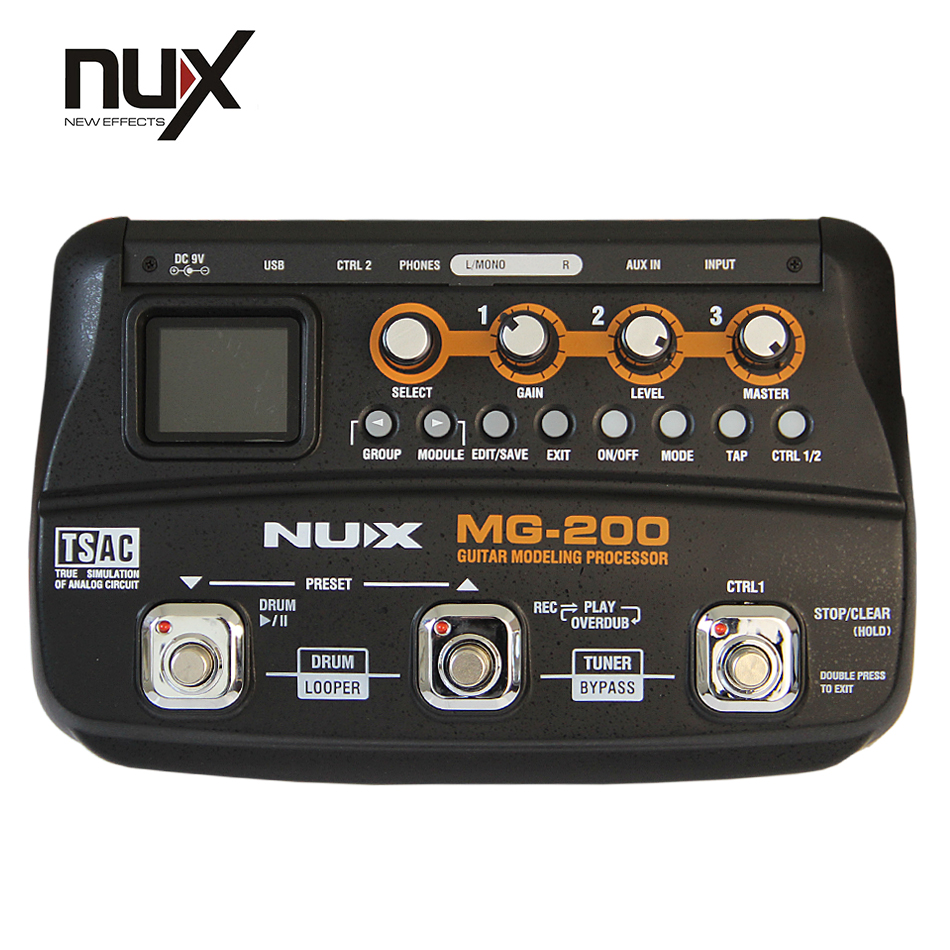NUX MG-200 Guitar Modeling Processor Guitar Multi-effects Processor with 55 Effect Models EU Plug Top Quality wavelets processor